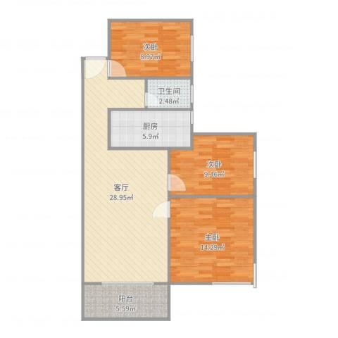 凯旋美域3室1厅1卫1厨95.00㎡户型图