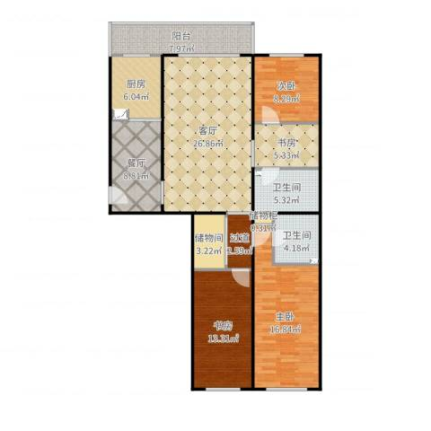 天通苑北一区4室2厅2卫1厨136.00㎡户型图