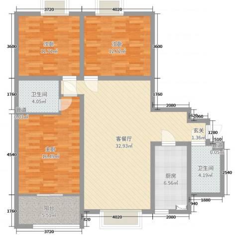 大唐新干线3室2厅2卫1厨118.00㎡户型图