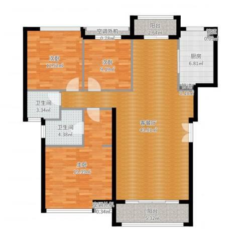 豪绅嘉苑3室2厅2卫1厨136.00㎡户型图