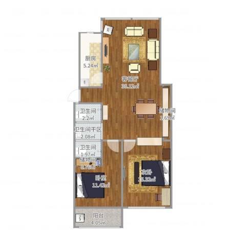 酷家乐-上海黄埔区静安四季公寓110㎡两室两厅一卫一厨一阳1室2厅2卫1厨101.00㎡户型图