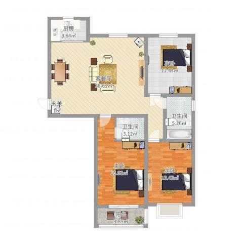 恒顺世纪中心3室2厅2卫1厨122.00㎡户型图