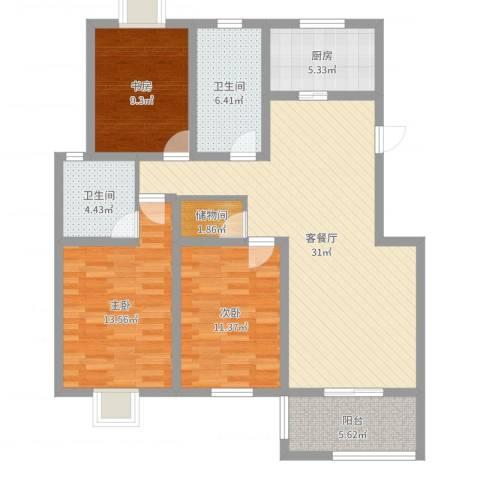 星鑫家园3室2厅2卫1厨111.00㎡户型图