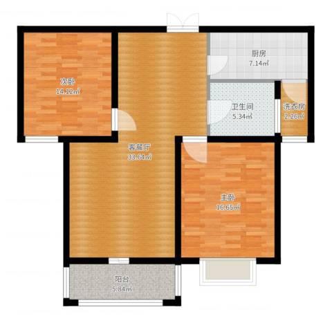 九悦鸿城2室2厅2卫1厨106.00㎡户型图