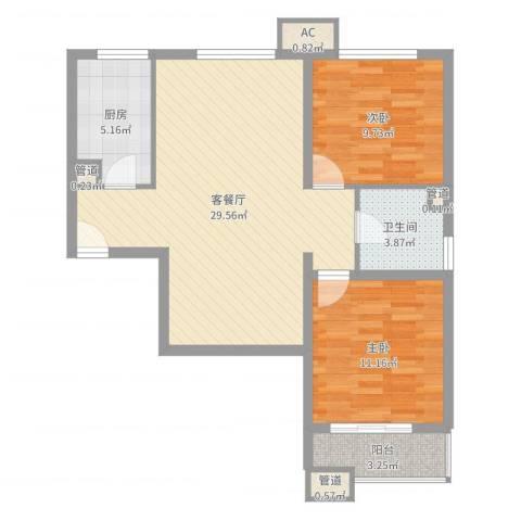 海上纳缇2室2厅1卫1厨81.00㎡户型图