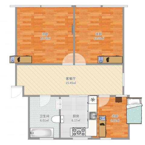 共和三村3室2厅1卫1厨82.00㎡户型图