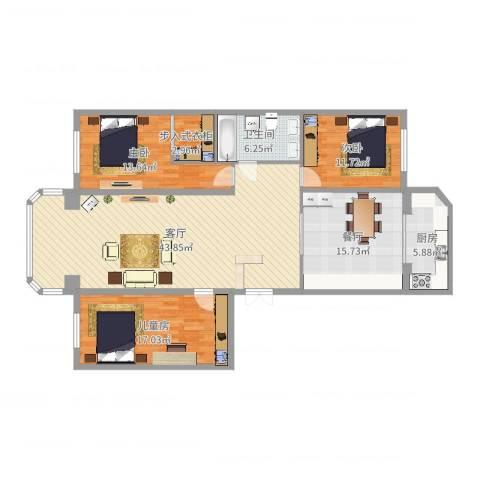泰山小区3室2厅1卫1厨146.00㎡户型图