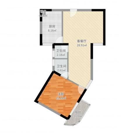 嘉农商贸城1室2厅2卫1厨75.00㎡户型图