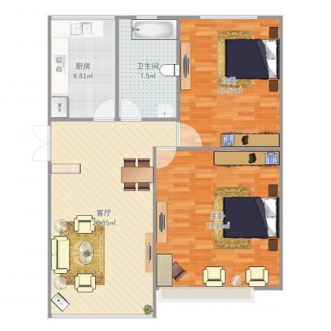 西罗园南里2室1厅1卫1厨107.00㎡户型图