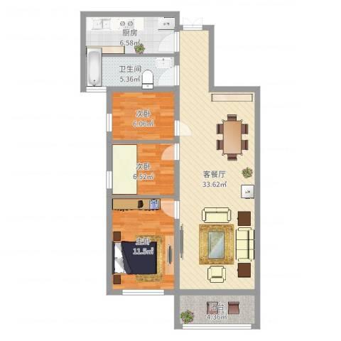 盛华香港城君临花园3室2厅1卫1厨92.00㎡户型图