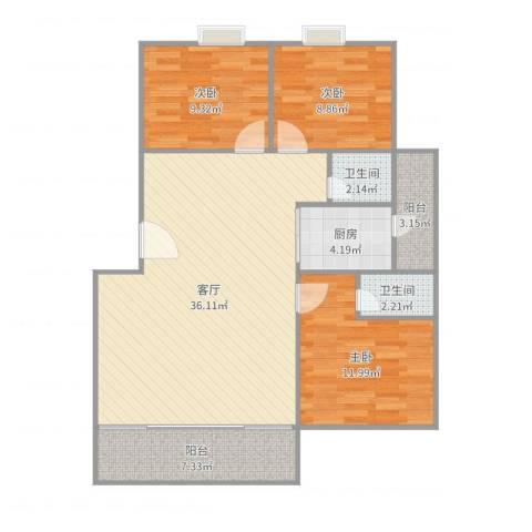 鸿业新天地3室1厅2卫1厨104.00㎡户型图