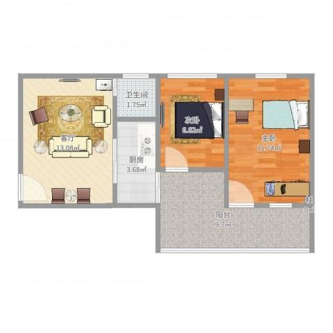 润南花园2室1厅1卫1厨58.00㎡户型图