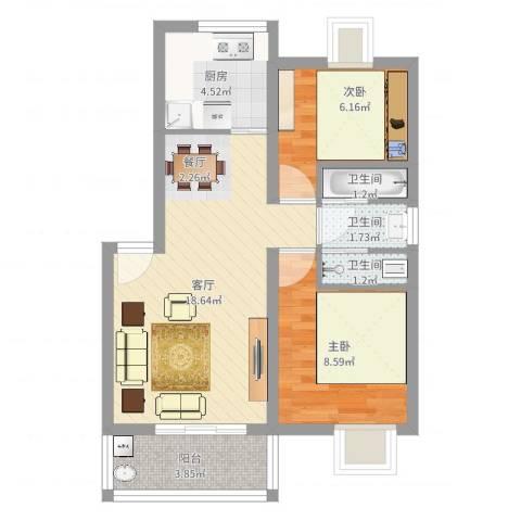 翰林湖畔2室1厅3卫1厨57.00㎡户型图