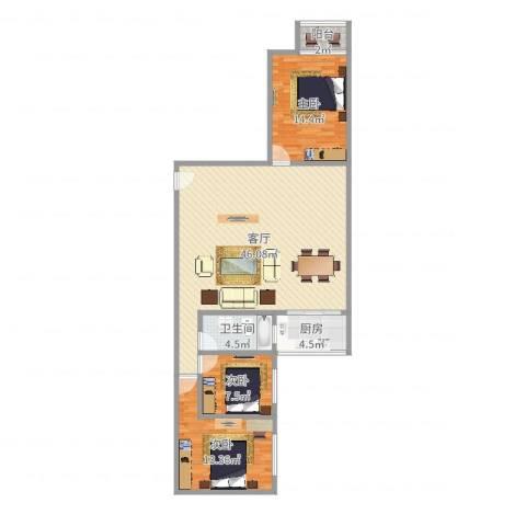润南花园3室1厅1卫1厨115.00㎡户型图