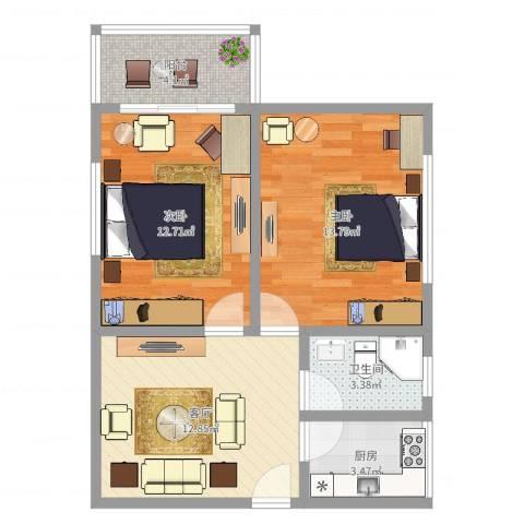 三门路358弄小区2室1厅1卫1厨63.00㎡户型图