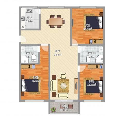 解放新村3室1厅2卫1厨125.00㎡户型图