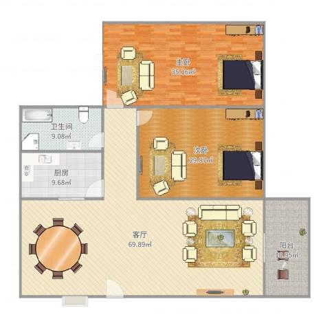 金福广场2室1厅1卫1厨206.00㎡户型图