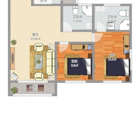 广地花园2室1厅2卫1厨100.00㎡户型图