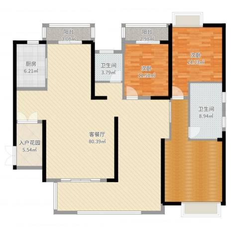 中建江山壹号2室2厅2卫2厨198.00㎡户型图