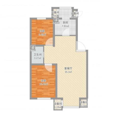 北美家园2室3厅6卫1厨90.00㎡户型图