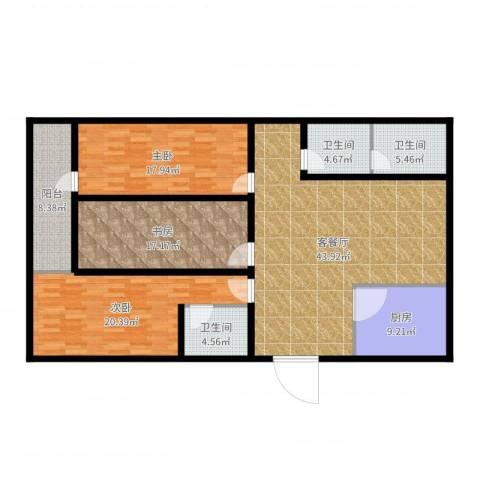 金容花园3室2厅3卫1厨165.00㎡户型图