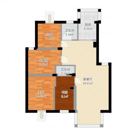 漾河公寓4室2厅2卫1厨102.00㎡户型图