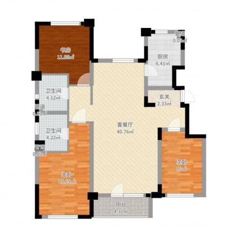 万科惠斯勒小镇3室2厅2卫1厨121.00㎡户型图