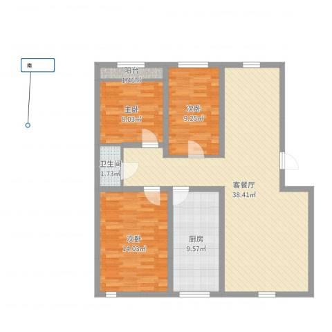 万达花园3室2厅1卫1厨103.00㎡户型图