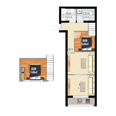 底特律财富天地2室2厅1卫1厨57.00㎡户型图