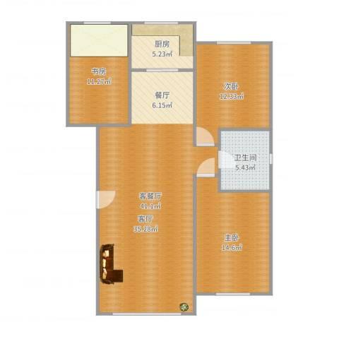 金港翠园3室2厅1卫1厨116.00㎡户型图