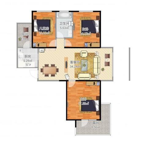 盟科涵舍3室2厅1卫1厨126.00㎡户型图