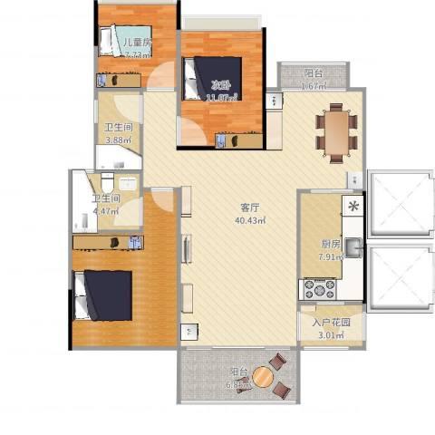 金海湾花园2室1厅2卫1厨102.61㎡户型图