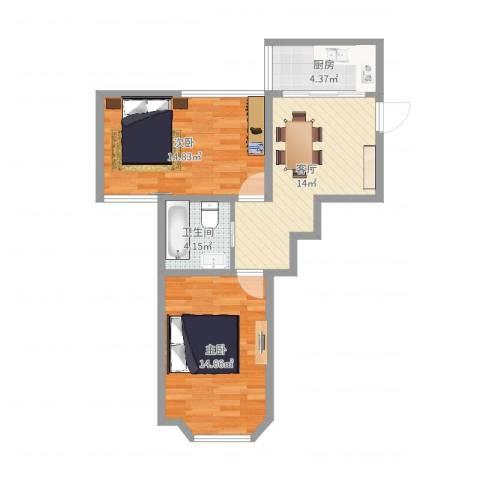 临沂大楼2室1厅1卫1厨65.00㎡户型图