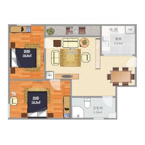 金福广场77栋6022室1厅1卫1厨83.00㎡户型图