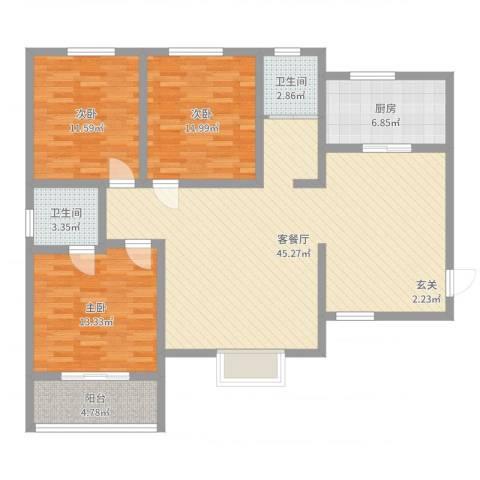 翡翠庄园3室2厅2卫1厨125.00㎡户型图