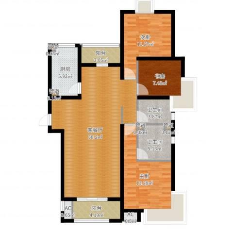 中惠卡丽兰3室2厅2卫1厨117.00㎡户型图