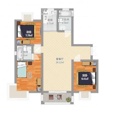 仁安新村3室2厅2卫1厨88.00㎡户型图