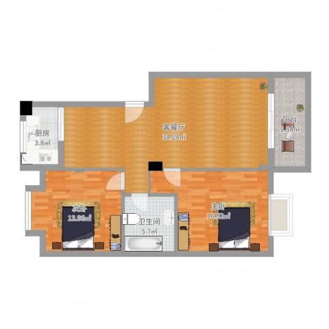 洪都花园一楼2室2厅1卫1厨100.00㎡户型图