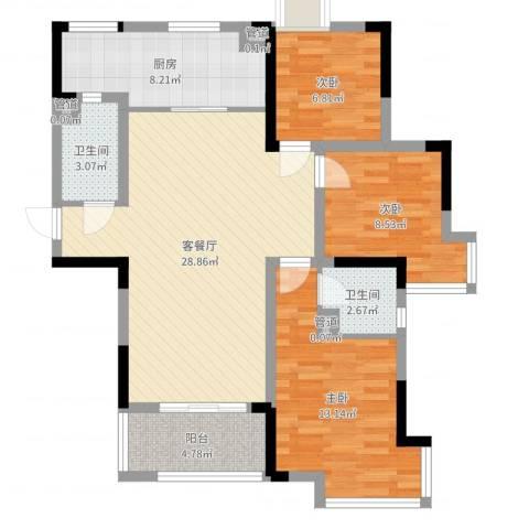 中信森林湖3室2厅2卫1厨76.31㎡户型图
