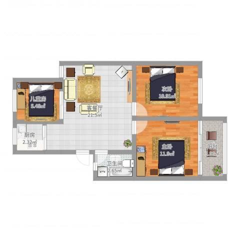 泰河康园3室2厅1卫1厨73.00㎡户型图