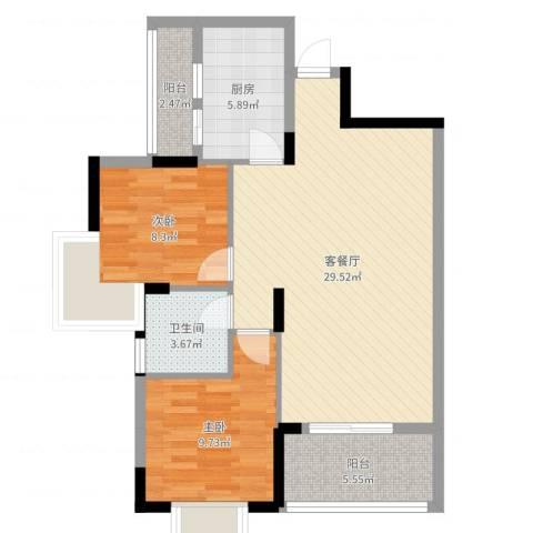 大湖新城2室2厅1卫1厨81.00㎡户型图