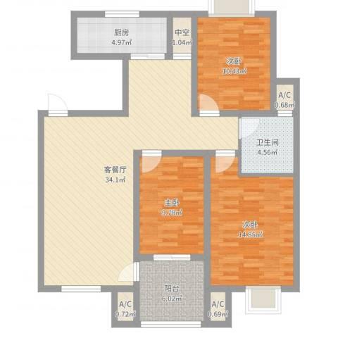 天泰茗仕豪庭3室2厅1卫1厨110.00㎡户型图