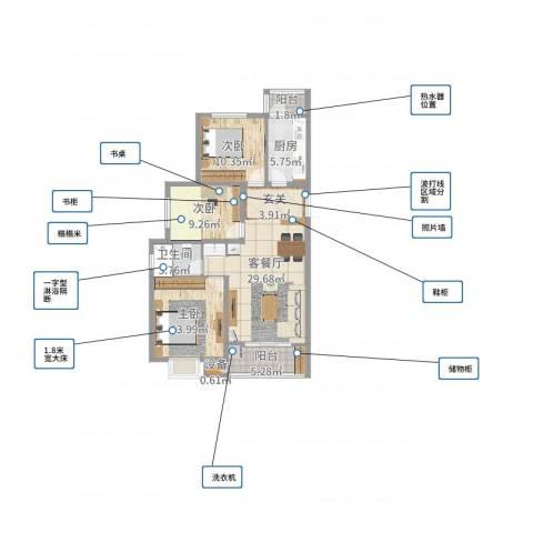建邦・向�院3室2厅1卫1厨101.00㎡户型图