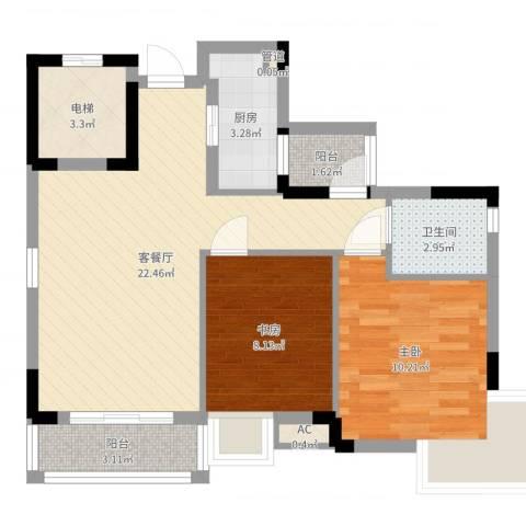 万达丰大厦2室2厅1卫1厨69.00㎡户型图