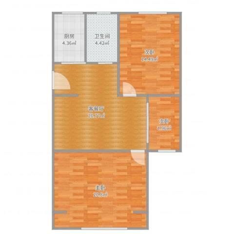 报春四村3室2厅1卫1厨87.00㎡户型图