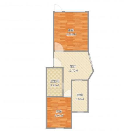 碧江路红旗五村2室1厅1卫1厨61.00㎡户型图