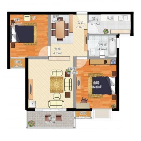国际花都蓝蝶苑2室2厅1卫1厨112.00㎡户型图