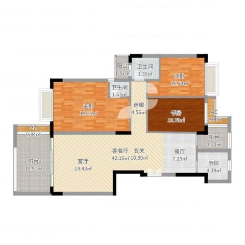 合正锦园二期3室2厅2卫1厨138.00㎡户型图