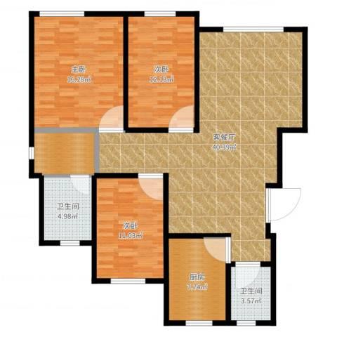 英伦小镇3室2厅2卫1厨125.00㎡户型图