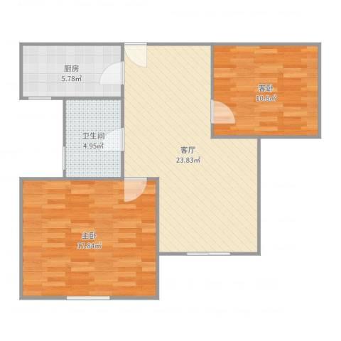 青年公社2室1厅1卫1厨79.00㎡户型图